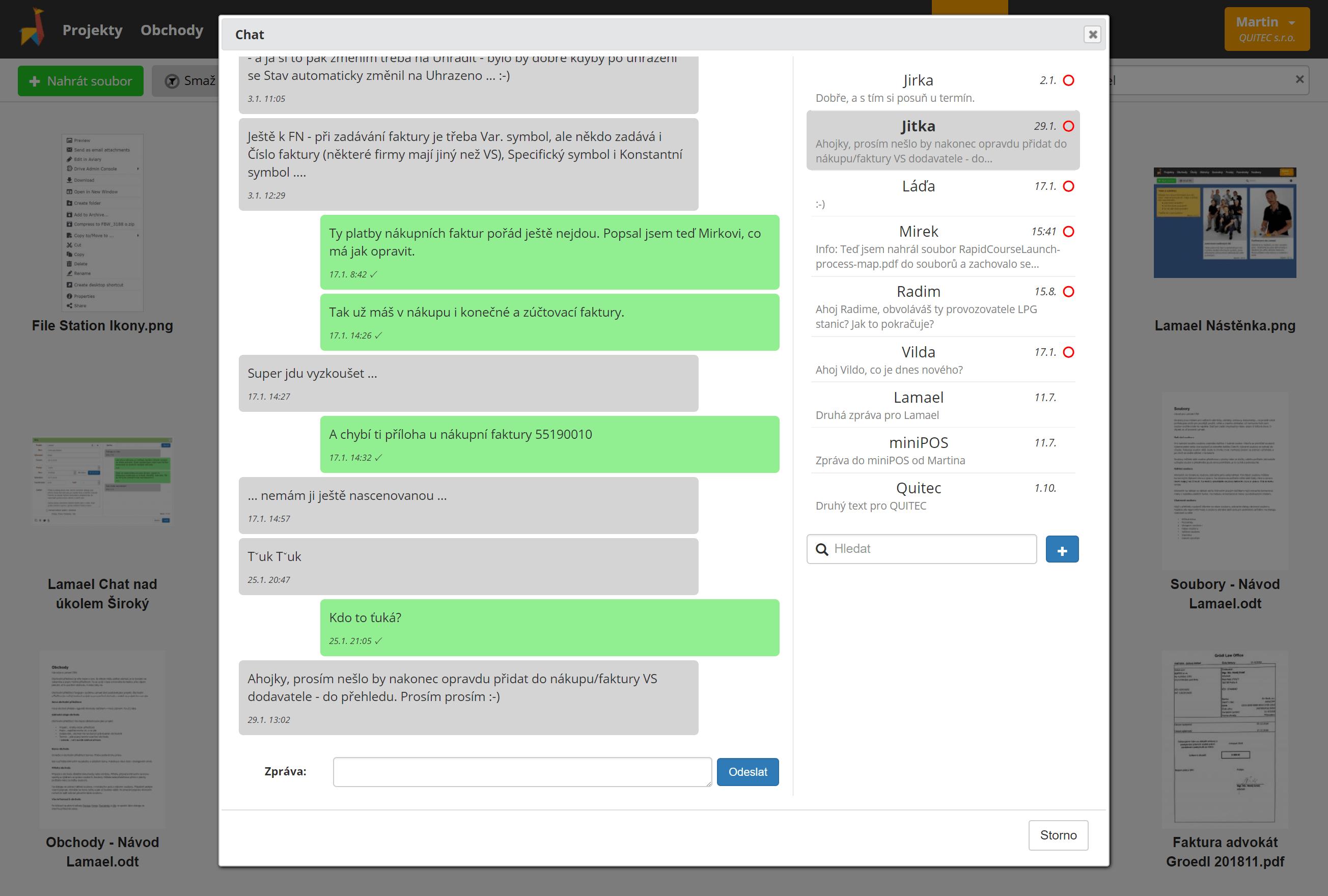 Chat - Teamová komunikace
