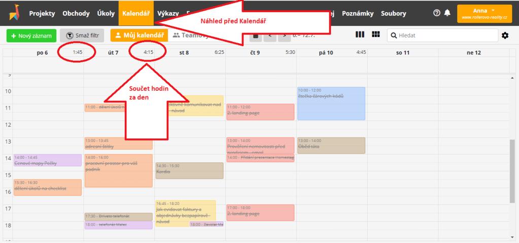 záložka Kalendář