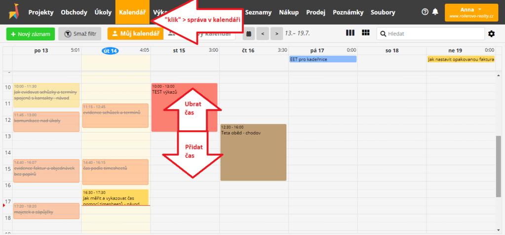 práce s časem v záložce Kalendář
