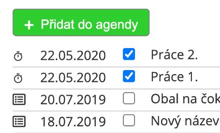 Ukázka agendy na projektu