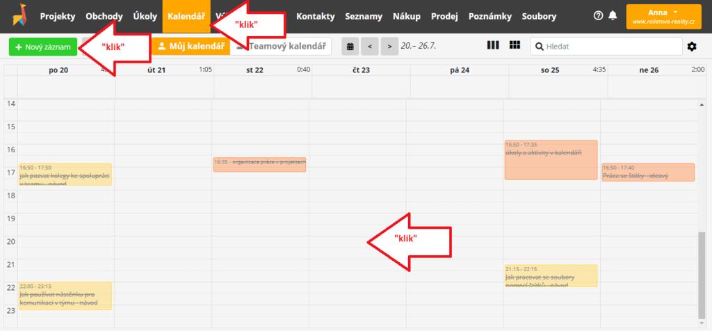 vytvoření úkolů a aktivit v kalendáři