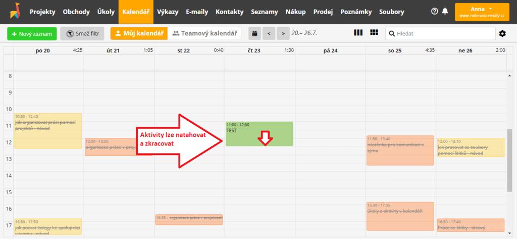 práce s aktivitou v kalendáři